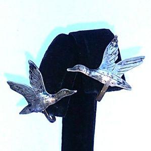 ANTIQUE Sterling Silver Duck Screw-Back Earrings